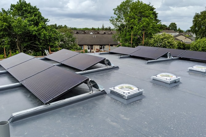 Angled Solar Panels Installed on Flat Roof