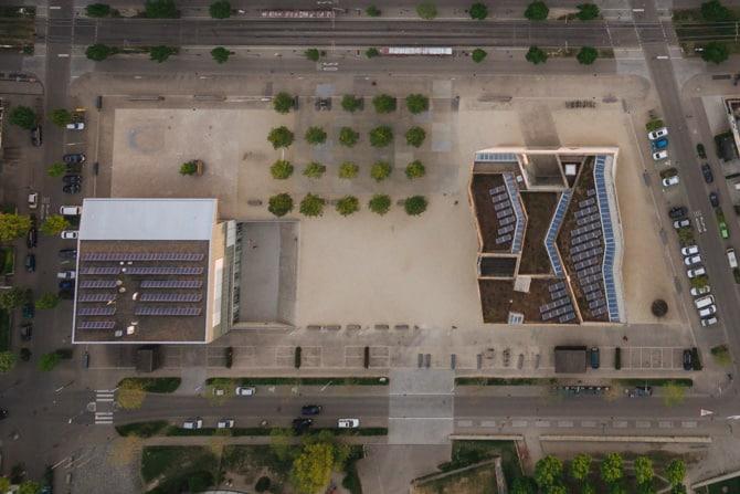 Cityscape with Urban Rooftop Solar Arrays