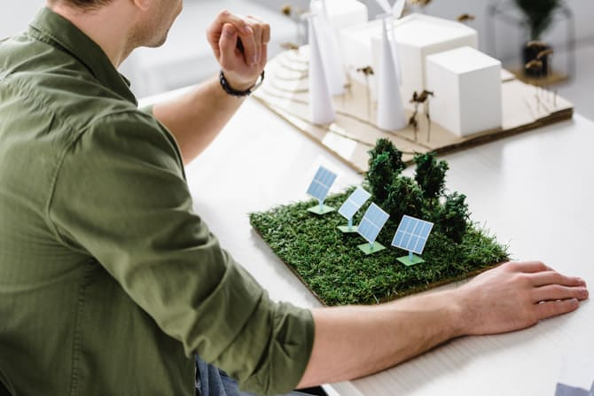 Man with Landscape Model