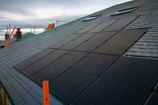 Solar Panels Installed in Slate Roof