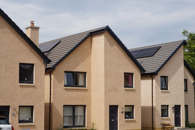 New homes in West Calder with roof solar panels